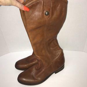 Frye Melissa lug boots sz 8 cognac leather